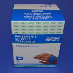 Pansements Bleu en Tissu, Rectangulaire (bte/50)