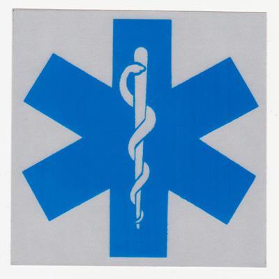 Croix de Vie Bleu 4'' x 4'', Fond Réfléchissant
